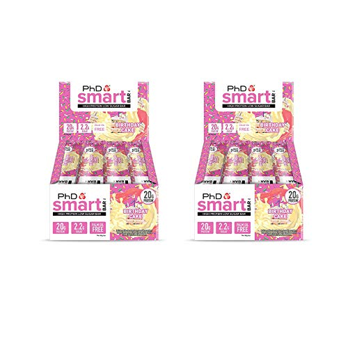 PhD Smart Bar High Protein Low Carb Bar, Birthday Cake, Pack of 2 (2 x 12 Pieces) 24 Bars x 64 g