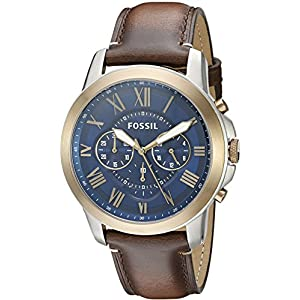 Amazon.com: Fossil Mens JR1157 Brown Leather Strap Brown Analog Dial Chronograph Watch: Fossil: Watches