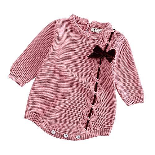 Susenstone BéBé Nouveau-Né BéBé GarçOn Fille Tricot Combinaison Romper Manteau Mignon à La Mode Hiver Chaud Jumpsuit 3-24 Mois (0-3 Mois (Taille:66CM), Rose)