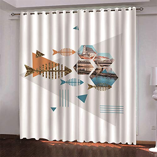 MMHJS Nordic Fabric Blackout Curtain Cloth 3D Digital Animal Printing Curtains, Hotel Bedroom Living Room Partition Cloth Waterproof (2 Pieces)