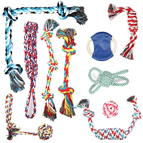 Dog Rope Toys, pingqian 10PCS Dog Toys for Small/Medium/Large Dog and Aggressive Chewers Puppy Chew Toys for Prevents Boredom Relieves Stress and Teeth Cleaning