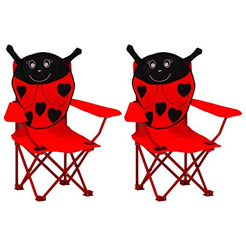 Carsparadisezone 2 PCS Kids Folding Lawn and Camping Chair, Animal Lightweight Ladybug Portable Seat Stick Chair, Foldable Garden Chair Picnic Beach Chair,Red【UK STOCK】
