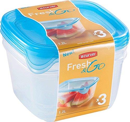 CURVER Vorratsdose-Set Fresh&Go 3x1,2l in transparent/ozeanblau, Plastik, 35 x 25 x 10 cm