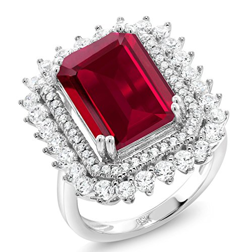 Gem Stone King 925 Sterling Silver Red Created Ruby Women's Ring (8.60 Cttw Emerald Cut) (Size 8)