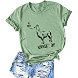 YourTops FZLYE Women YA BISH Kendrick Llama Print T-Shirt Short Sleeve Alpaca Graphic Tees (XL,2Green)