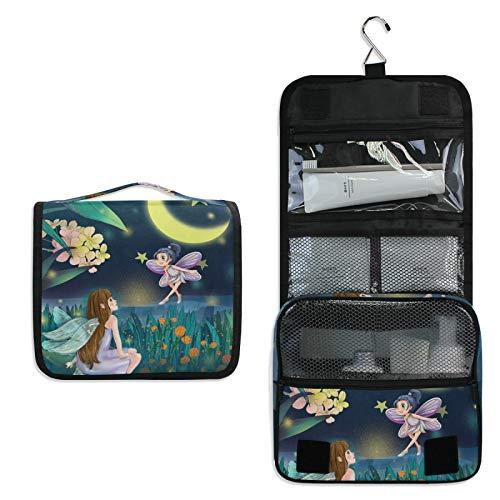 Hermosa Noche De Luna Bolsa de Aseo Colgante Organizador Cosmético de Viaje Ducha Bolsa de Baño Neceser de Viaje para Maquillaje niñas Mujeres