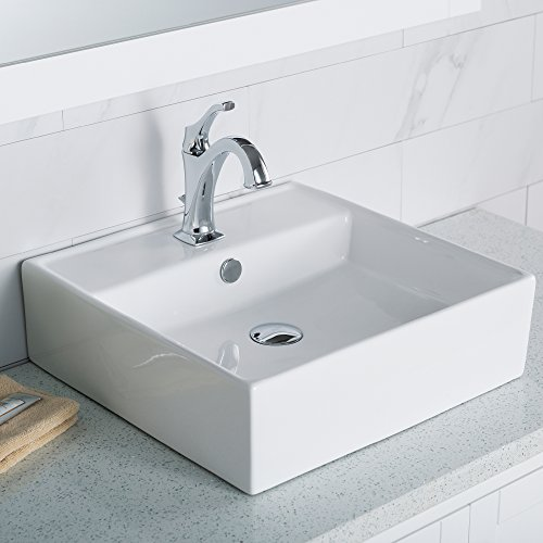 Kraus KCV-150 Elavo Square Vessel Porcelain Ceramic Bathroom Sink with Overflow, 18 1/2, 18.5 Inch, White