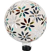 Sunnydaze Mosaic Flowers Gazing Globe Glass Garden Ball, Outdoor Lawn and Yard Ornament, Multi-Colored, 10-Inch