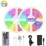 Renovo 65.6ft RGB LED Strip Lights Ultra-Long Color Changing Light Strip with Remote
