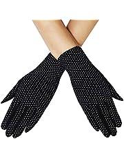 Women Summer UV Protection Gloves Touchscreen Driving Gloves Non-Slip Sun Protective Gloves (Black)