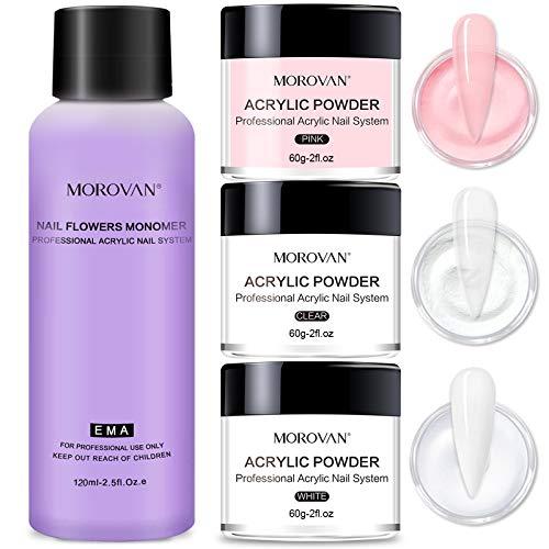 Morovan Acrylic Powder and Liquid Set Professional Monomer Nail Kit Acrylic Set with 2oz Pink White Clear Acryic Nail Powder for Acrylic Nails
