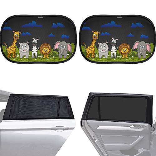 Caramaz Sonnenschutz Auto Baby mit UV Schutz - Kombi Set bestehend aus 2 schwarzen/neutralen Sonnenschutzsocken zur vollflächigen Abdeckung sowie 2 liebevoll bedruckten Sonnenblenden 50 x 30 cm