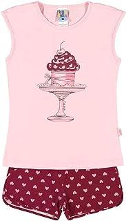 Conjuntos Rosa Bebê Infantil Menina Meia Malha Ref:37535-719