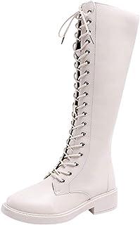 Stivali Donna Moda Retro Med Heels Caldi Tacchi Spessi Scarpe Stringate Lunghe