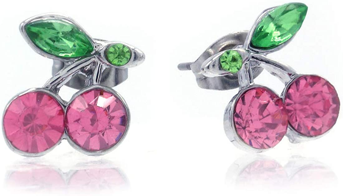 SoulBreeze Green Leaf Red Fruit Cherry Stud Post Earrings Charm Set Christmas Fashion Jewelry