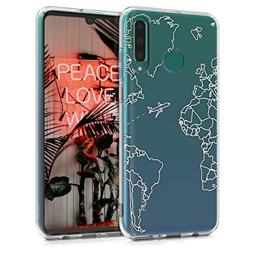 kwmobile Cover Compatibile con Huawei P30 Lite - Custodia in Silicone TPU - Backcover Protettiva Cellulare Travel & Explore Bianco/Trasparente