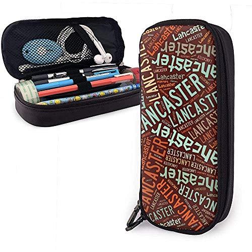 Lancaster - American Style Custodia in pelle per matite in pelle ad alta capacità Penna Cartoleria Organizer College Penna per trucco Borsa per cosmetici portatile