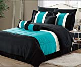 8 Piece Oversized Teal Blue & Black Comforter Set Bedding with Sheet Set (Queen)