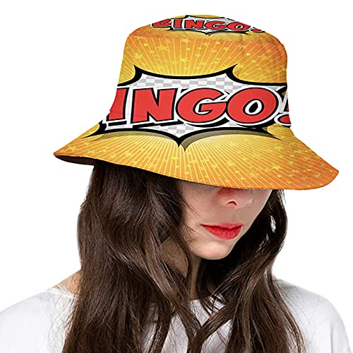 Sun Protection Cap,Comic Speech Bubble Cartoon Pop Retro Style Star Burst Backdrop,Packable Cap Travel Beach Sun Hat