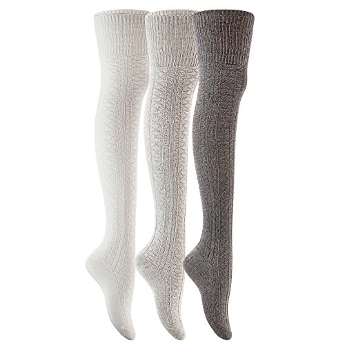 Lian LifeStyle Fashionable and Adorable Women's 3 Pairs Thigh High Cotton Socks For Everyday Relaxed Feet Size 6-9 LLS1025(DarkGrey,Grey,CreamWhite)