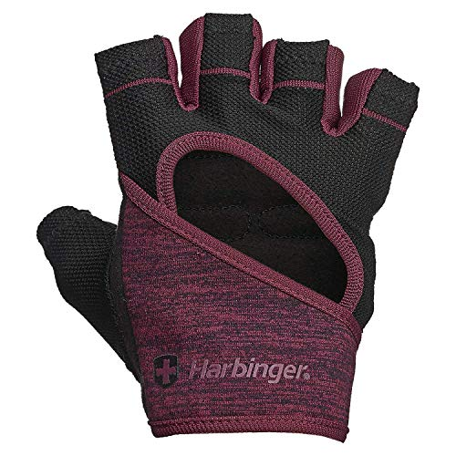 Harbinger Flexfit, Women's Weight Lifting Gloves, Wash and Dry Leather Vented StretchBack Mesh Gym Gloves, Black/Merlot, Medium