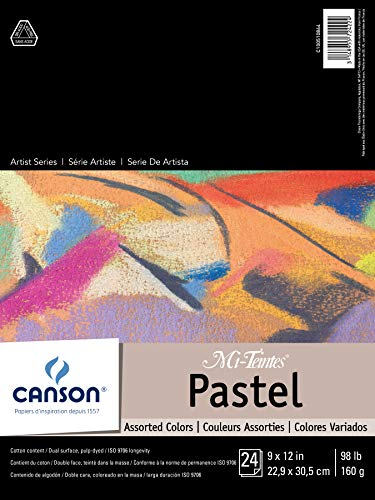 CANSON Mi-Teintes Pastel Pad, Assorted Colors 9'X12' Fold Over...