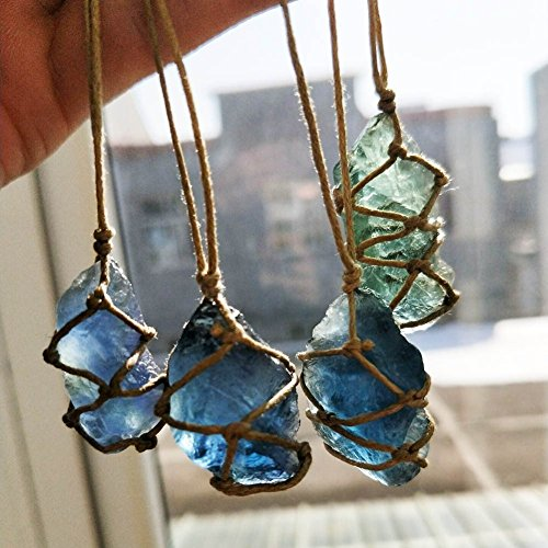 Natural Quartz Crystal Stone Blue-green Fluorite Treatment Stone Fluorite Ornament Fluorite Reiki Chakra Pendant With Hand-woven Braided Rope In Random Color