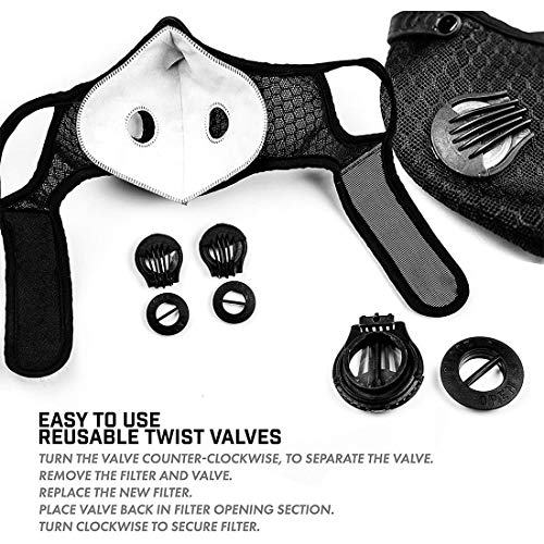 Protective Covers with 4 Filter Sheet,Washable Reusable Protection Cover with 2 Breathing Valve-Black (1 Pack)