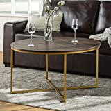 Walker Edison Cora Modern Round Faux Marble Top Coffee Table with X Base, 36 Inch, Walnut and Gold