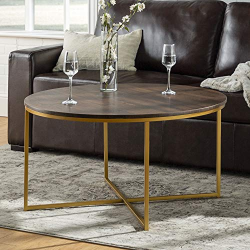 Eden Bridge Designs 91cm Round Mid Century Modern Coffee Table with X-Base for Living Room /Office decoration, Metal, Dark Walnut/Gold