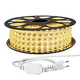 LE 20M LED Band 230V, 5050 SMD LEDs, 220V-240V LED Streifen, Superhelle warmweiß, IP65 wasserdichte...