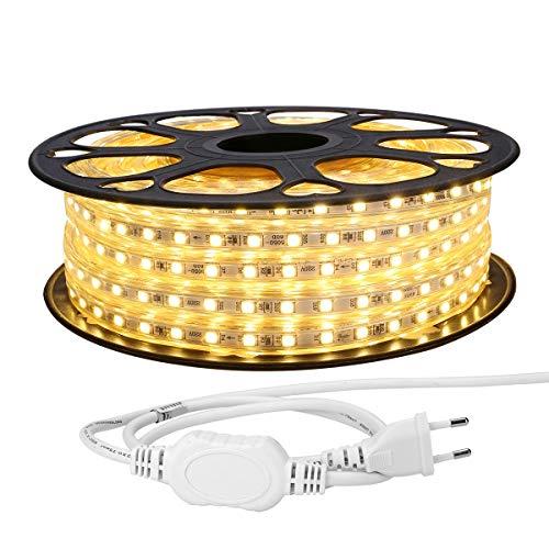 LE 20M LED Band 230V, 5050 SMD LEDs, 220V-240V LED Streifen, Superhelle warmweiß, IP65 wasserdichte außere dekorative Lichterketten