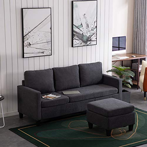 Bonnlo Corner Sofa, 3 Seater Sofas Small Corner Sofa L Shaped Sofa, Chaise Lounge Sofa with Reversible Footstool, Modular Sofa Gaming Couch L Shaped Settee for Living Room, Reception Room, Dark Grey