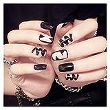 Wuxun-Nail 24 unids/Set Nail Falso con diseños Línea de Onda Negra Brillante Acrílico Nails Artificiales Ladies Daily Fake Clave con Puntas de Pegamento