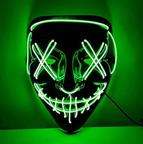 XLH Halloween Mask LED Halloween Luminous Mask Neon Costume Props Carnival Festival Mask Halloween Fear Decor,Green,M
