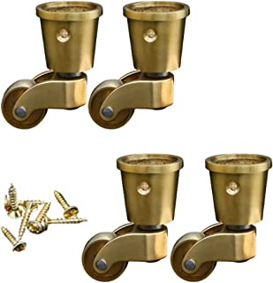 Goquik Solid Brass Caster Wheels,Swivel Furniture Castor,Load Capacity 100kg,with Screws,Wheel Diameter 22mm,4Pcs,with Threaded Rod,Suitable for Retro Furniture,Piano Feet,Sofas