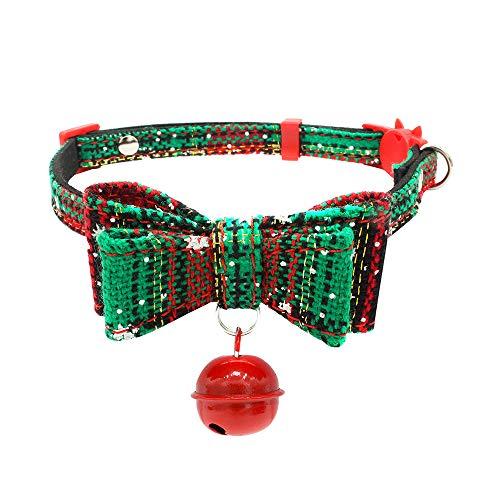 Amphia - Weihnachtshund und Hund Sicherheitsschnalle Kragen mit Glocke,Weihnachtsjustierbarer Bedruckter Kragen mit Bell-Hundewelpen-Haustier-Katzenhalsbändern
