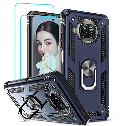 LeYi Funda Xiaomi Mi 10T Lite 5G con [2-Unidades] Cristal Vidrio Templado,Armor Carcasa con 360 Grados Anillo iman Soporte Hard PC y Silicona TPU Bumper Antigolpes Case para Movil 10T Lite 5G,Azul