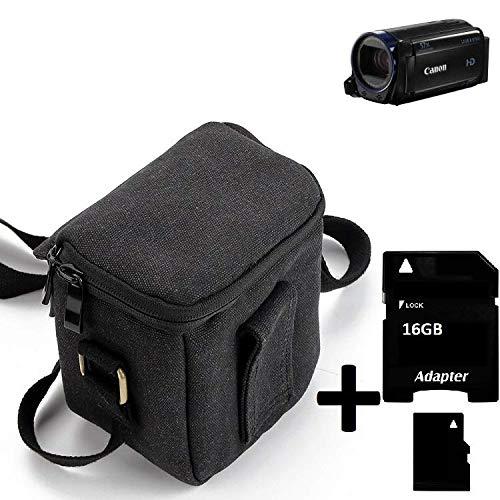K-S-Trade Umhängetasche Für Canon Legria HF R68 Schulter Tasche Tragetasche Kameratasche Fototasche + 16GB Speicherkarte Maße: 12cm X 12cm X 7cm Schwarz Schutzhülle Bag Zubehörtasche