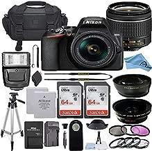Nikon D3500 DSLR Camera with 24.2MP Sensor, NIKKOR 18-55mm f/3.5-5.6G VR Lens, 2 Pack Sandisk 64GB Memory Card, Bag, Tripod, Flash Light + A-Cell Accessory Bundle (64GB)