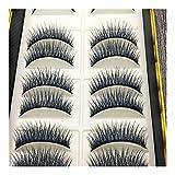 Hongtai Naturalmente Pestañas Falsas Falso Soft Pestañas Realista Maquillaje Nude De Herramientas Negro Azul Pestañas 10 Pares (Size : 10 Pairs)