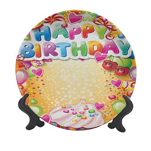 Plato decorativo de cerámica de 6 pulgadas, marcos de colores vivos con muchos globos y cupcakes, diseño de cerezo y corazones, placa decorativa de pared de cerámica para decoración de boda