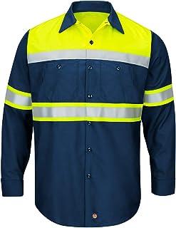 Red Kap mens Hi-Vis LS Colorblock Ripstop Work Shirt - Type O, Class 1 Shirt