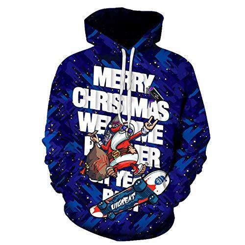 WLZQ Otoño E Invierno Suéter Navideño para Hombre Chaqueta Navideña Suéter Navideño para Hombre Papá Noel Camiseta De Manga Larga Sudadera