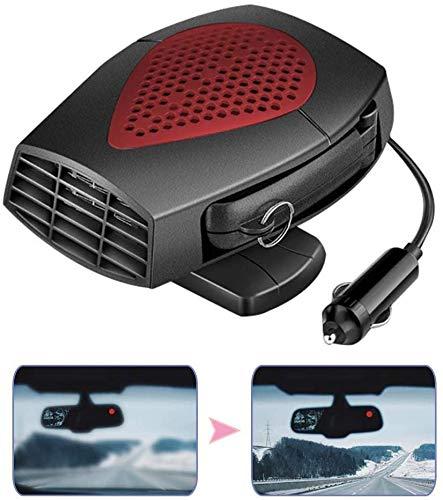 HELOU Calentador de Coche portátil Profesional,Ventilador de Calentador automático multifunción de 12 V y 150 W con desempañado,descongelación,calefacción y refrigeración de Doble Uso,Encendedor