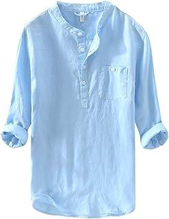 Mens Baggy Grandad Collarless Shirts Long Sleeve Casual Button Henley T Shirt Lightweight Lounge Beach Work Tops