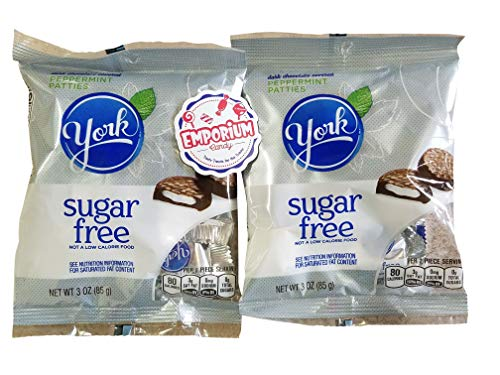 Sugar Free York Peppermint Patties - Two 3 ounce bags of individually wrapped chocolate mints with Refrigerator Magnet