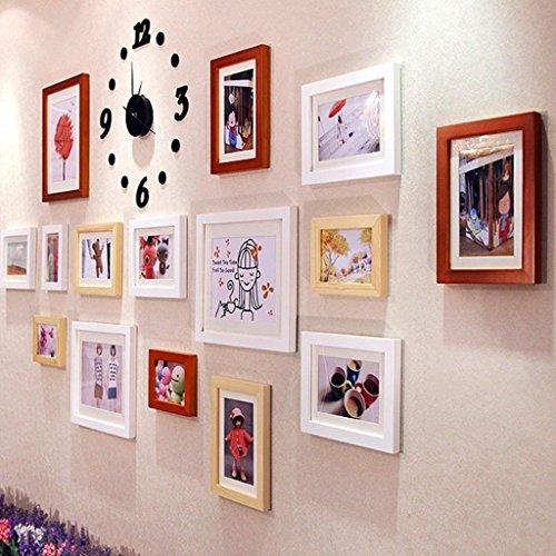 Fulinmen Bilderrahmen Wand, Foto Wall In Farbe Gemälde Kombination Wohnzimmer Foto Wall Wall Wanduhr Kreative Persönlichkeit, Hauptdekoration (Color : A)