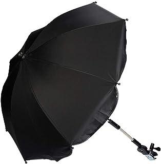 Kinderwagen Regenschirm Universal Sonnenschirm Sonnenschutz für Kinderwagen & Buggy UV Schutz 50 Babywagen Schirm mit Universal Halterung mit 360° flexiblen Schwanenhals Schwarz
