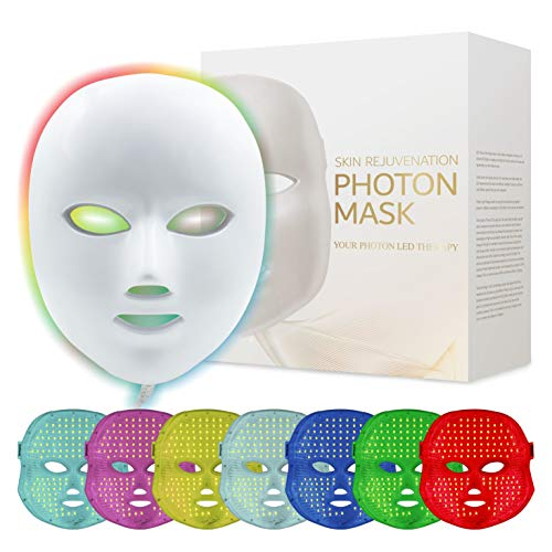 Led Face Mask - Healthy Care 7 Color Facial Skin Care Mask Photon Light Skin...